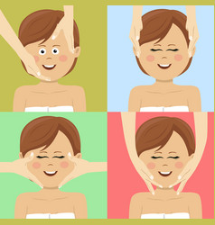 woman having facial massage in spa top view vector image vector image