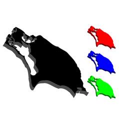 3d map of barbuda vector