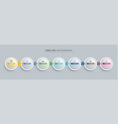 7 circle step infographic with abstract timeline vector