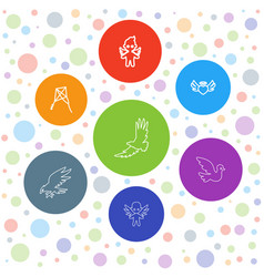 7 flying icons vector