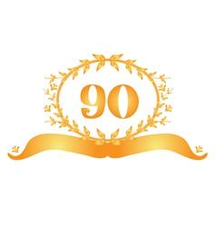 90th anniversary banner vector
