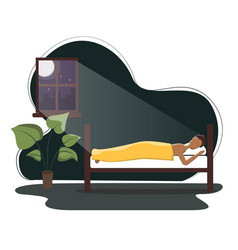 African american man sleeping in his bed flat vector