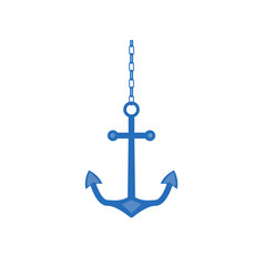 anchor on a chain isolated on white background vector image