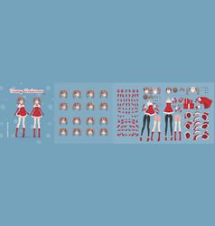 anime manga girl christmas character animation kit vector image