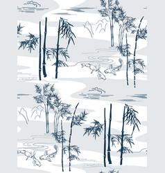 Bamboo japanese pattern koi fish seamless vector