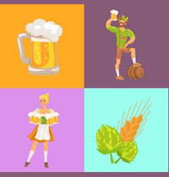 beer and symbols oktoberfest vector image