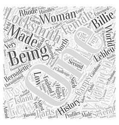 Being a Woman Locksmith Word Cloud Concept vector image