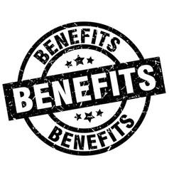 Benefits round grunge black stamp vector