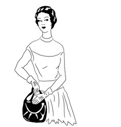 Black and white drawing female model vector
