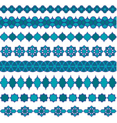 Blue moroccan border patterns vector