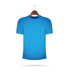 Blue t-shirt on a coat hanger vector