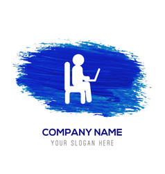 Business man working - blue watercolor background vector