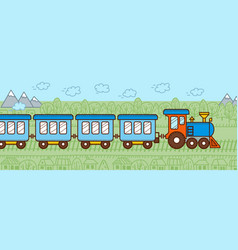 Cartoon blue train banner vector