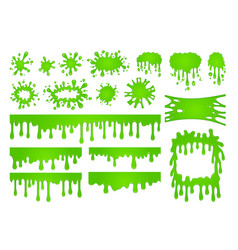 Cartoon liquid slime green goo paint drops vector