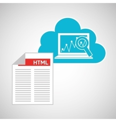 cloud code developing laptop analytics vector image