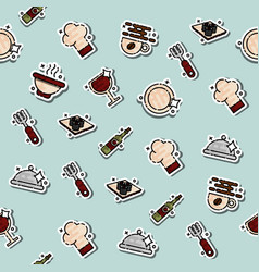 colored restaurant concept icons pattern vector image