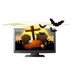 Computer screen with halloween theme vector