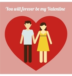 Couple in love portrait heart frame vector image