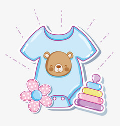 Cute baby clothes and toys vector