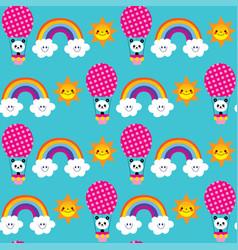 cute baby panda bears rainbows seamless pattern vector image
