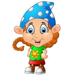 Cute girl cartoon posing vector image