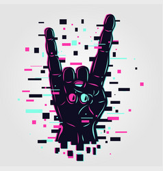 cyber rock hand glitch style vector image