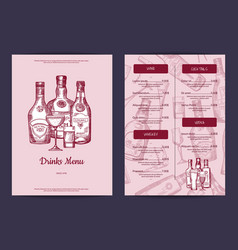 drinks menu template for bar cafe or vector image