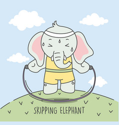 elephant skipping to make body ideal vector image