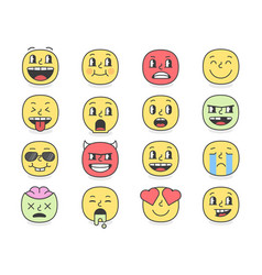 emoji faces with big eyes eps10 vector image