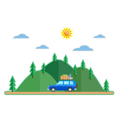 flat style car summer trip background vector image