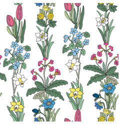 Flowers seamless pattern collection set design vector