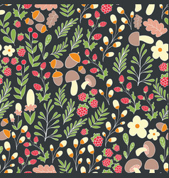 Forest pattern seamless pattern with flowers vector