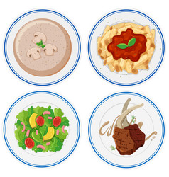 four plates of different food vector image