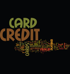 fraud on credit cards text background word cloud vector image
