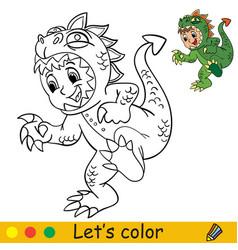 Funny boy in dinosaur costume halloween concept vector