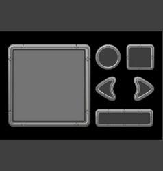 Game ui kit template metal menu vector