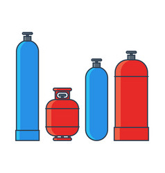 Gas tanks set various tanks in flat line vector
