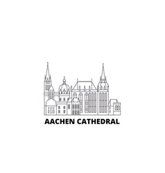 Germany aachen cathedral line travel skyline set vector