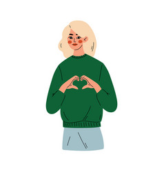 Girl showing heart sign young woman doing love vector