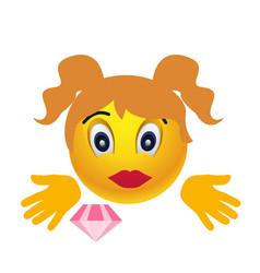 girl smile emoji vector image