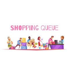 go shopping line composition vector image