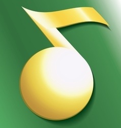 Gold musical notes on a green background vector image