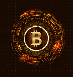 golden bitcoin digital currency futuristic money vector image