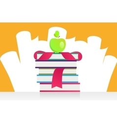 Graduation apple and books vector