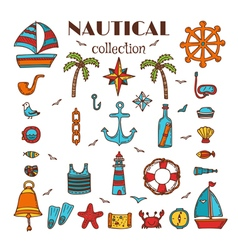 Hand drawn nautical collection Sea and ocean vector image