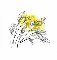 hand drawn painting with field plants on white vector image