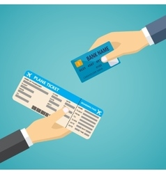 Hand with credit card and hand with boarding pass vector image