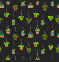 Hanging pots with plants seamless pattern vector