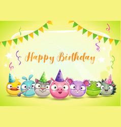 happy birthday greetings cute childish decorative vector image