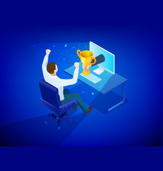isometric online award goal achievement reward vector image